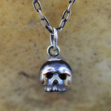READY TO SHIP - Hand Carved Pearl Skull Necklace - Multicolored Pearl Skull - Sterling Silver Skull Charm - Pearl Necklace - Skull Jewelry