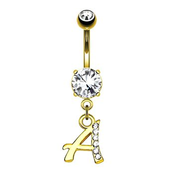 BodyJ4You Belly Ring Button Navel Dangle Yellow Gold Letter A Initial Piercing Jewelry