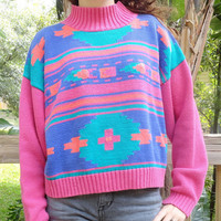 Vintage 80s Neon Aztec Tribal Cropped Pullover Sweater - S/M