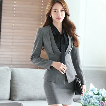 Gray Two Piece Ladies Formal Skirt Suit Office Uniform Designs Women Business Suits for work