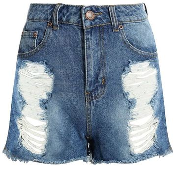 Olivia High Waist Distressed Denim Mom Shorts | Boohoo