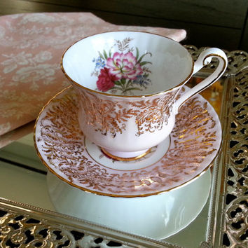 Vintage Paragon Carnations pink and gold gilt tea cup and saucer tea set, wedding gift, floral transfer
