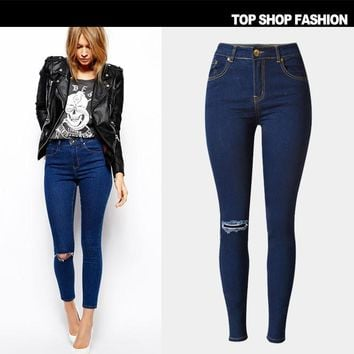 Ripped Holes Jeans Slim Baggy Jeans Pants Plus Size Skinny Pants [8864418567]