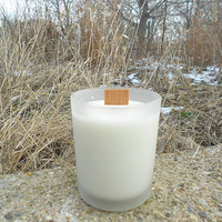 Butt Naked wood wick, natural soy candle.