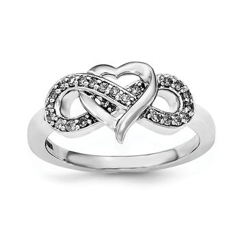925 Sterling Silver Rhodium Diamond Infinity Symbol Heart Ring
