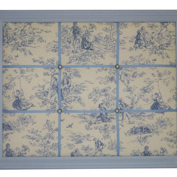 Kensington Garden Toile fabric Blue Framed Memo Board