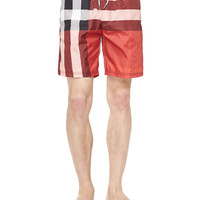 Check-Print Swim Trunks, Red, Size:
