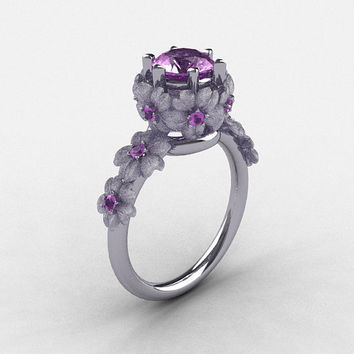 14K White Gold Lilac Amethyst Flower Wedding Ring, Engagement Ring NN109S-14KWGLA