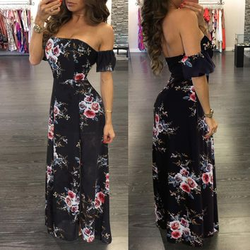 OffShoulder Floral Black Long Dress