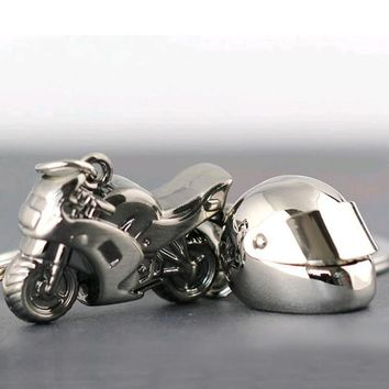 Classic 3D simulation model of motorcycle Motorcycle Helmet charms creation alloy  key chain key holder car key ring gifts