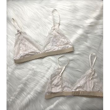 Ivory Lace Triangle Bralette