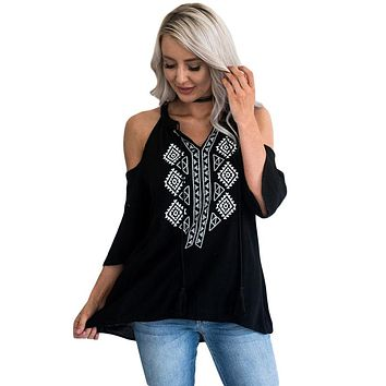 Black Embroidery Detail Cold Shoulder Top