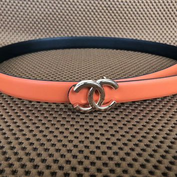 Chanel men and women same tide brand fashion casual belt F-KWKWM Orange