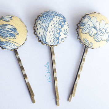 button bobby pin French toile hair clips Fabric hair pin Barrette hair Jewelry Floral  Blue Yellow hairstyles fancy