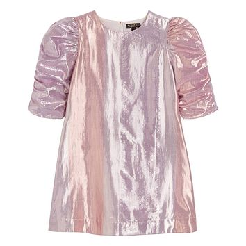 Velveteen Girls' Darla Metallic Grape Gradient Dress with Rouched Sleeve