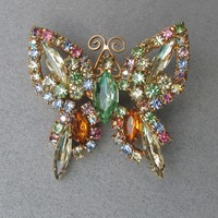 Vintage Weiss by DeLizza & Elster Multi Colored Pastel Rhinestone Butterfly Pin