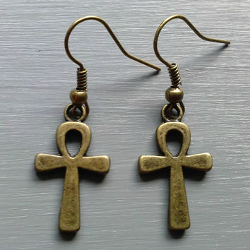 Bronze Ankh Earrings