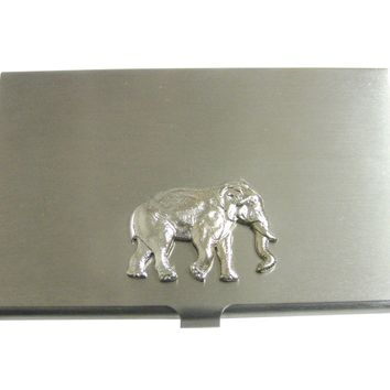 Silver Toned Large Elephant Pendant Business Card Holder