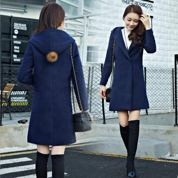 Skyesky New Designer Wool Coat For Women Winter Outwear Casual Hooded Ladies Coat Cover Button Loose Woolen Jacket SK128