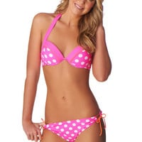 Pink Dot Push Up Bikini Top
