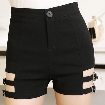 Sexy Women'S Vintage Black Elastic High Waist Hot Shorts Tight Skinny Garter Belt Punk Shorts