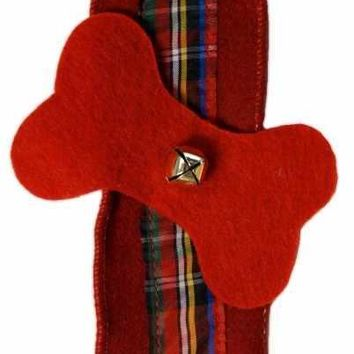Felt Dog Bone Garland With Tartan Plaid Middle, Gold Bells, Red