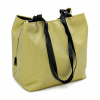 Yellow Green VEGAN HANDBAG, Medium Size Purse with Braided Straps and Detachable case. Lightweight bag - Japanese Cube