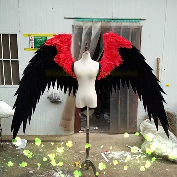 Black and Red Feather Angel Wings Cosplay Show Stage Game Superhero Costume