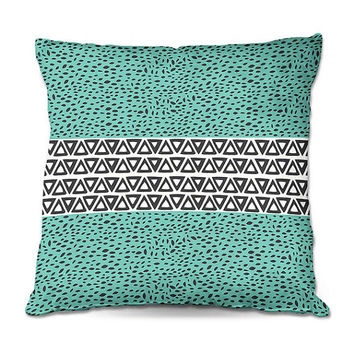 Aqua Aztec Path - Turquoise Throw Pillow – 3 Sizes Available