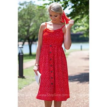 Button Decor Polka Dot Pocket Dress