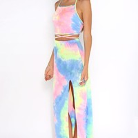 Reverie Two Piece Set - crop top and maxi skirt set in neon pink, yellow, green, blue and purple rainbow tie-dye fabric