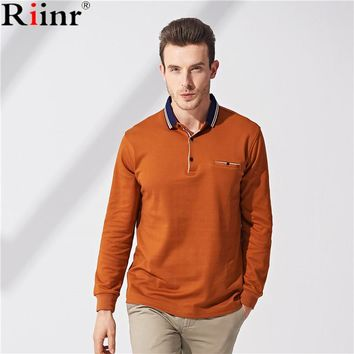 Polo Shirt Male Spring and Summer Long-Sleeved Solid Color Blue Strips Collar Men's Stretch Comfort High Quality