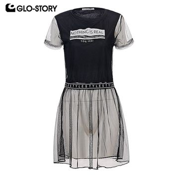 GLO-STORY Woman 2018  Punk Fashion Summer Black T Shirt Dress Casual Short Sleeve Club Party Dresses with Sexy Mesh WPO-6369