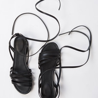 Leatherette Strappy Sandals - 7