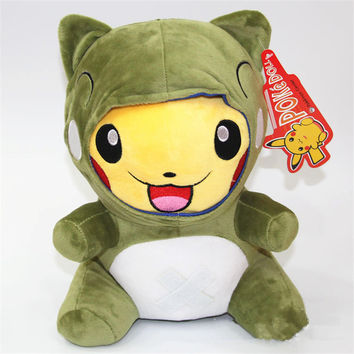 "[PCMOS] Pokemon Pocket Monster Picachu Wear In Frog Open Mouth Laughing Character Plush Toys Stuffed Doll 30cm/12"" T1429"