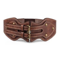 Brown Studded Double Buckle PU Cinch Belt