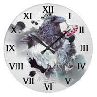 Ravens Abstract Watercolor Background Round | Large Clock