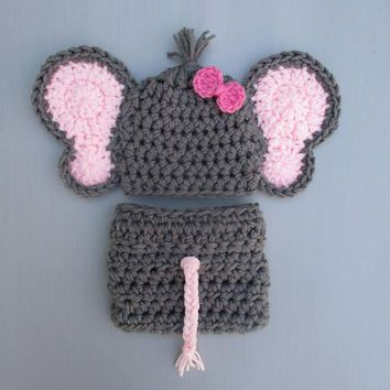 Crochet Elephant Baby Girl Outfit Dark Grey Newborn Photo Prop