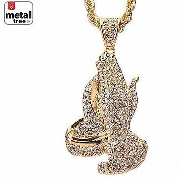 "Jewelry Kay style Men's 14k Gold Plated Iced Out Pray Hand Pendant 30"" Rope Chain Set HC 5015 G"