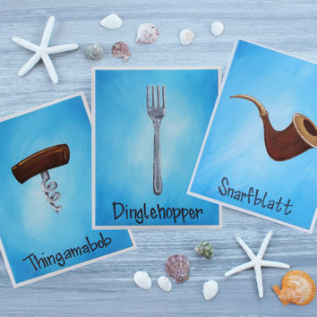 "The Little Mermaid Art Prints / Dinglehopper, Snarfblatt, and Thingamabob 8"" x 10"" Prints from Acrylic Paintings / Individual or Set of 3"