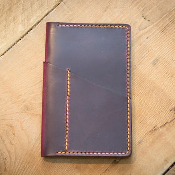 Burgundy Leather Field Notes Cover (Wraparound Pocket)