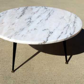 Marble Coffee Table Round 1960 Mid Century Modern Low Profile Slant Leg Base 36""