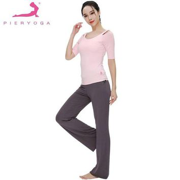 DK7G2 PIERYOGA 2Pcs Women Summer Spring Yoga Set For Running Gym Sportswear Fitness Suit Dance Clothes Sweet Strapless Top And Pants