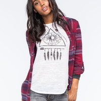 Full Tilt Large Plaid Womens Boyfriend Flannel Shirt Burgundy  In Sizes