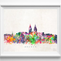 Bremen Skyline Print, Germany Print, Bremen Poster, Cityscape, Watercolor Painting, City Poster, Art, Home Decor, Christmas Gift