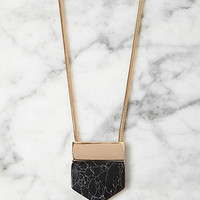 Angular Faux Marble Pendant Necklace