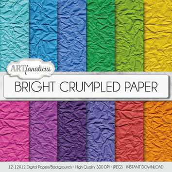 "Digital paper ""BRIGHT CRUMPLED PAPER"" crumpled paper in bright colors of blue, green, yellow, pink. purple, and more"