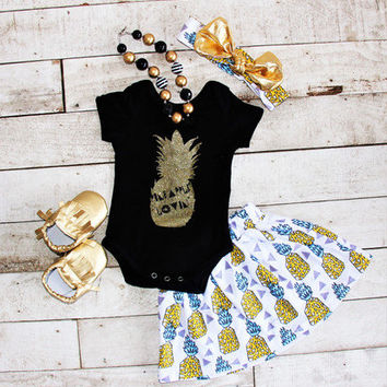 Pineapple Onesuit, Pineapple Outfit, Baby Girl Onesuit, Baby Girl Skirt, Toddler Outfit, Sister Outfit, Newborn Onesuit, Take Home Outfit