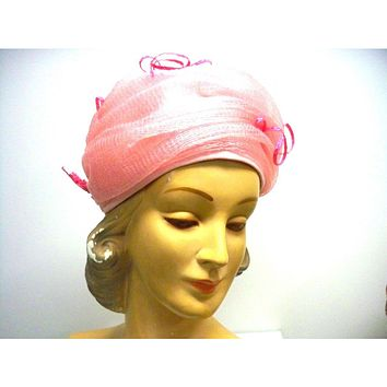 Vintage Ladies Hat Cotton Candy Pink Horsehair 1960s