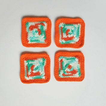 Square Cotton Coaster Set in Tangerine and Turquoise, Set of Four, ready to ship.